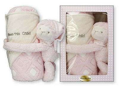 Baptism Gift Plush Baby Lamb Blanket - Bless this Baby