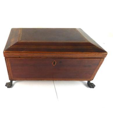 C1815 Antique Regency Wood Inlaid Casket Box With Lion Mask Handles & Paw Feet