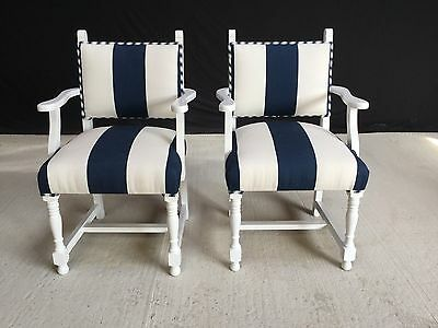 14 Designer  Art Deco Oak Chairs Professionally French Painted & Upholstered