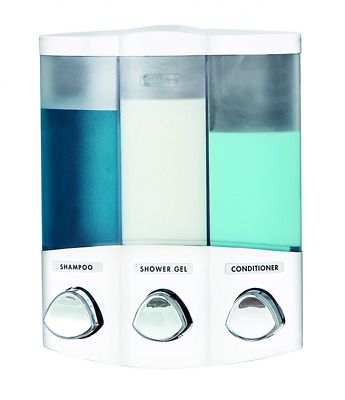 Better Living Products Euro Series TRIO Three Chamber Soap and Shower Dispenser,