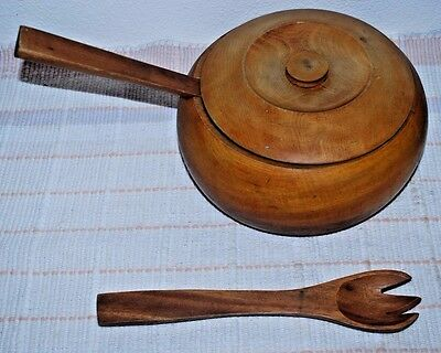 Vintage Wood Bowl With Lid, Fork & Spoon
