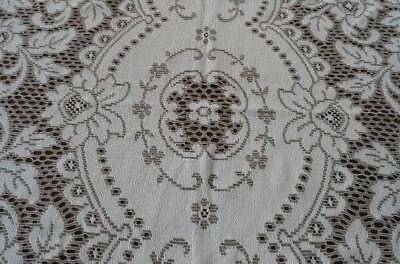 Vintage Beige French Lace Tablecloth Embroidered Nottingham Floral Deco 64""