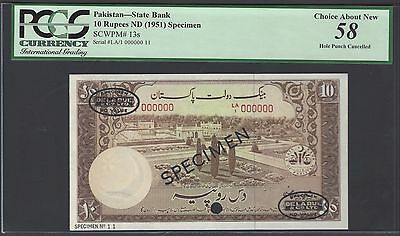 Pakistan 10 Rupees ND(1951) P13s Specimen TDLR About Uncirculated
