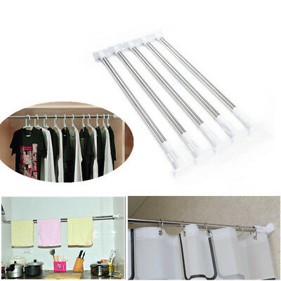 Adjustable Retractable Shower Curtain Rod Home Bathroom Tension Telescopic Poles