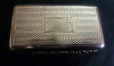 William IV Silver Snuff Box by Thomas Shaw Hallmarked Birmingham 1835