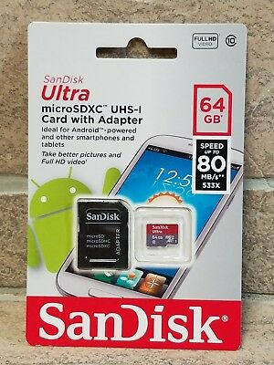 NEW SanDisk Ultra 64GB 80mb/s Micro SDXC microSDXC UHS-I - Class 10 Memory Card