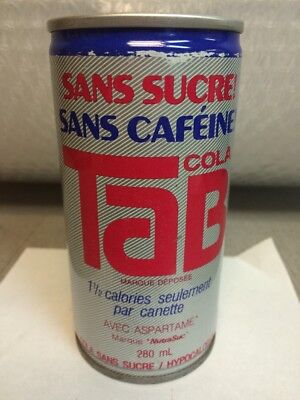 Vintage Tab Sugar Free Soda Can. By Coca Cola French Canadian 280 ml. 4 1/2 Tall