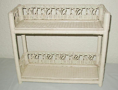 Vintage Antique White Wicker Wall Shelf shabby cottage Chic 17 X 15 X 7