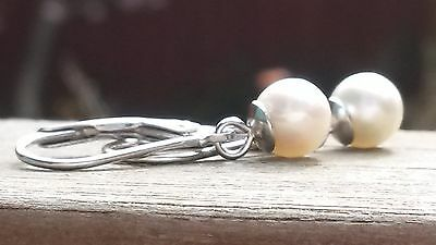 Natural Japanese Akoya pearl lever back earrings in silver
