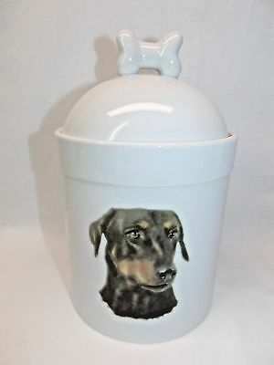 Doberman Pinscher Uncropped Dog Porcelain Treat Jar Fired Decal on Front 8In T