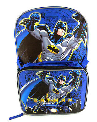DC Batman School Backpack Lunch Box Book Bag SET Kids Children Cartoon Superhero