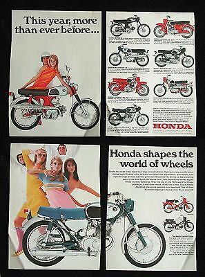 HONDA 1967 Classic Motorcycle Lineup - Original 4 page COLOR AD