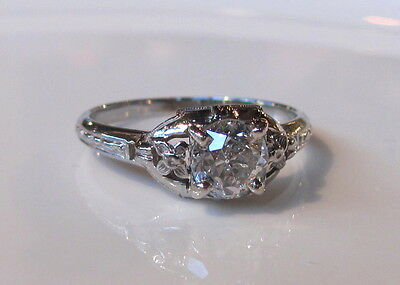 Antique 18K White Gold Diamond Ring Circa 1925 Art Deco .80ct.