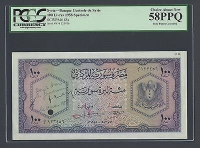 Syria 100 Lira ND(1958) Second Issue P85s Specimen About Uncirculated