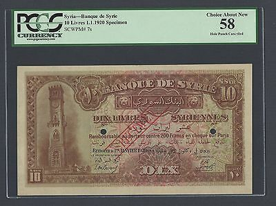 Syria 10 Lira 1-1-1920 P7s Specimen About Uncirculated
