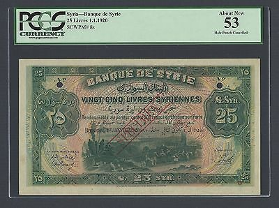 Syria 25 Lira 1-1-1920 P8s Specimen About Uncirculated