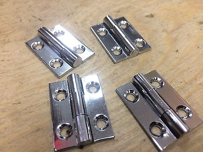 "2 PAIRS 1"" 25mm POLISHED CHROME ON BRASS BUTT HINGES SMALL BOX DOOR"