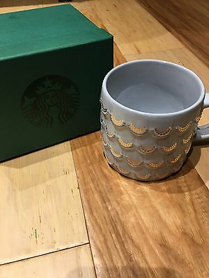 STARBUCKS 2016 Anniversary Mermaid Scales White Gold Mug 10 oz NEW in green Box