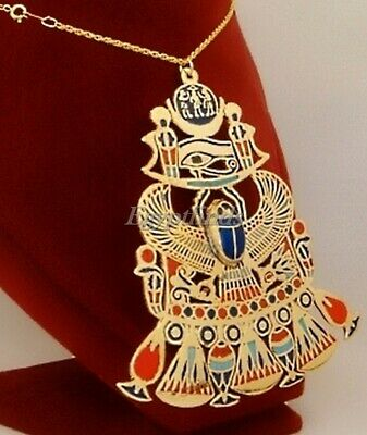 Very Large Handmade Egyptian Scarab Solar And Eye Of Horus Brass Necklace