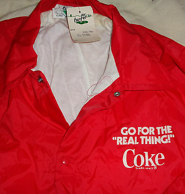 VINTAGE COCA-COLA RED NYLON LINED JACKET 80s SZ XL Turfer