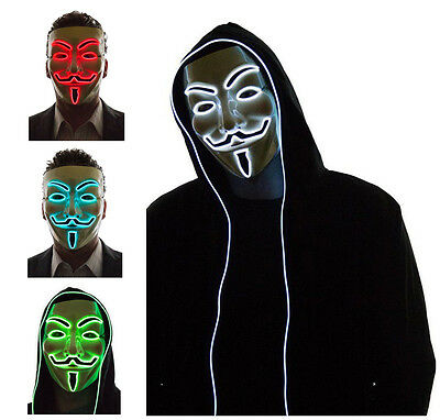 El Light Up LED Mask V for Vendetta Anonymous Guy Fawkes Costume Cosplay Cool!