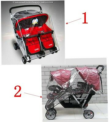 TWIN BABY Stroller Cart Universal Pushchair DOUBLE  Rain Cover Dust Wind Shield