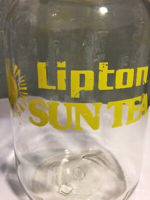 Vintage Lipton Glass Sun Tea Jug Without a Spigot With Yellow Sun and Letters