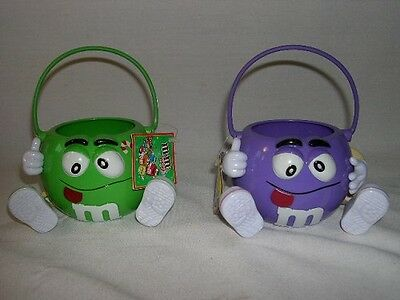(2) M&m Mini Buckets  W/ Handles ~~Purple / Green  2004