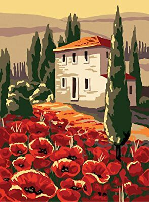 Collection D Art Printed Tapestry Canvas  House and poppies
