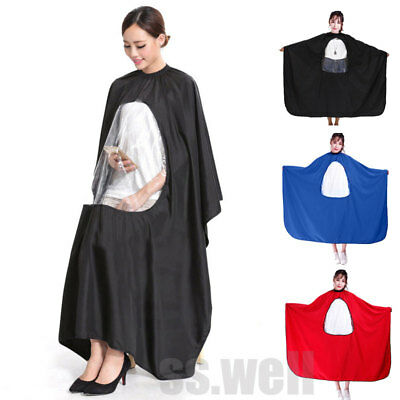 Hair Cutting Cape Salon Hairdresser Barber Cover Cloth Transparent Viewing Cover