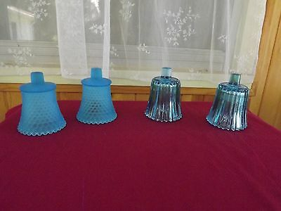 Lot of 4 Vintage Blue Hobnail and Ribbed  Home Interior Votive Cups