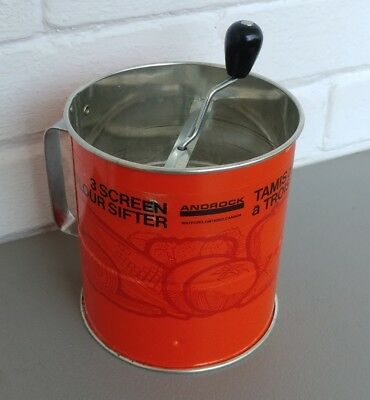 Androck 3 Screen Flour Sifter Orange with Vegetable Print