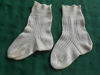 Fancy Pair Vintage White Baby Socks In Very Good Condition, Vintage 1940