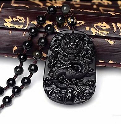 Black Obsidian Natural Hand Carved Dragon Blessing Lucky Pendant Necklace