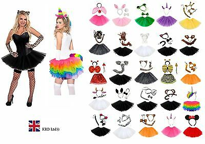 Ladies ANIMAL FANCY DRESS TUTU COSTUME Party Accessory Girls EARS BOW TAIL SET