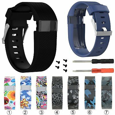 Flower Silicone Bracelet Watch Band Strap For Fitbit Charge HR Bands Large/Small