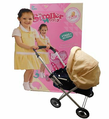 Dolls Stroller Baby Pram Cream hood and Navy Body Toy Buggy Pushchair