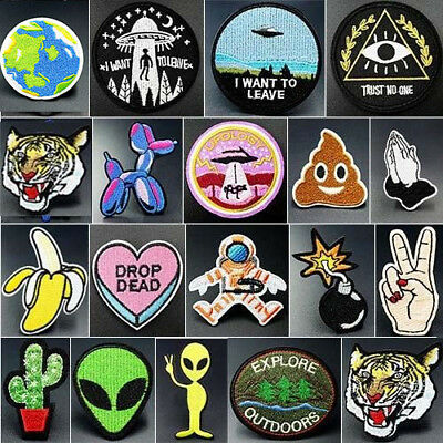 Newest Embroidered Iron On Patches Badge Hat Fabric Applique Clothes Craft DIY