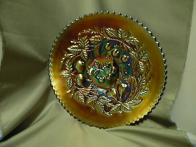 Antique Northwood Three Fruits Pattern Carnival On Amethyst Glass Plate