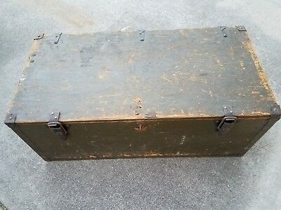 Vintage Us Army Military Trunk Foot Locker Box