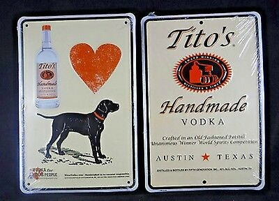 "Titos Vodka Pair of Metal Signs 12"" x 8"" Vodka for Dog People Man Cave Bar Pub"