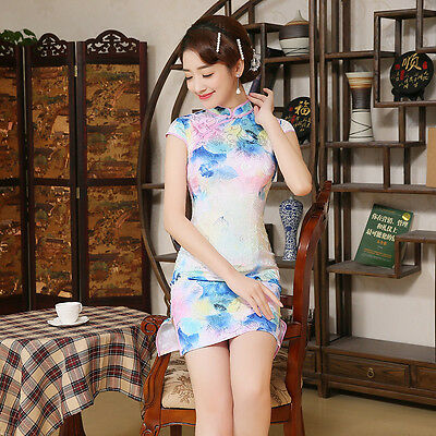 Women Floral Slit Cheongsam Dress short Bodycon Chinese Qipao Vintage Blue S-2XL