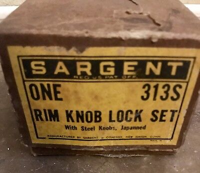 Antique Sargent NEW Rim Knob Lock Set 313S With Steel Knobs Japanned