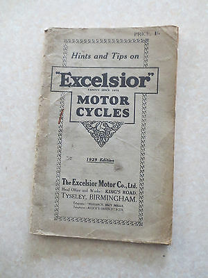 Original 1929 Excelsior motorcycles owners manual