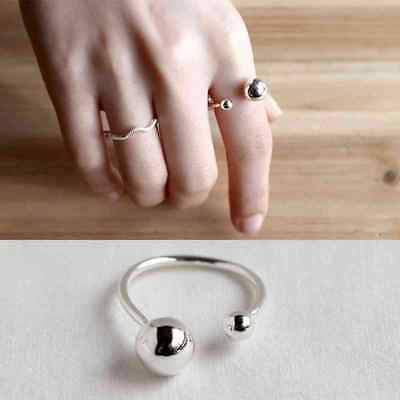 Sterling Silver Ring Open Cuff with Double Balls Vintage Style Women Jewelry