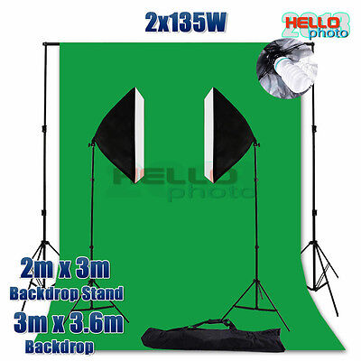 Photo Studio Softbox Lighting Green Muslin Backdrop Background Light Stand Kit