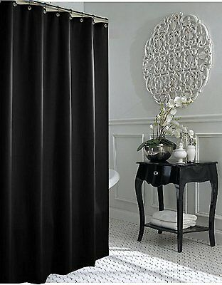 Jet Black Fabric Shower Curtain 240cm Long New FREE SHIPPING