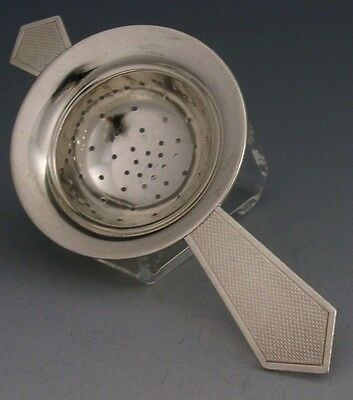 Superbly Designed English Sterling Silver Art Deco Tea Strainer 1958