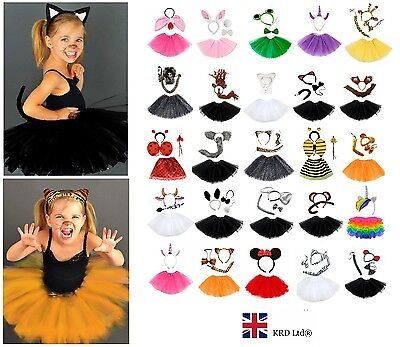 Kids ANIMAL FANCY DRESS TUTU COSTUME Party Accessory Girls EARS BOW TAIL SET UK