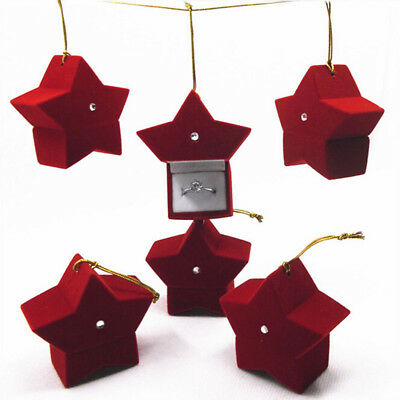 Red Star Shape Velvet Ring Box Earring Ear Stud Jewelry Case Container Gifts